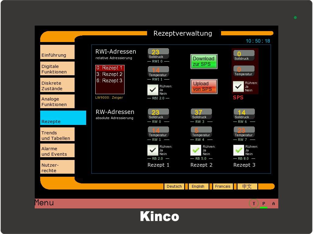 Kinco HMI Rezepte
