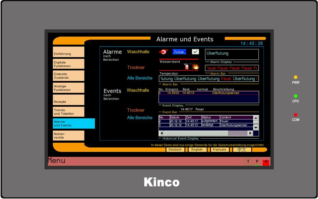 Kinco HMI GL100E Alarme