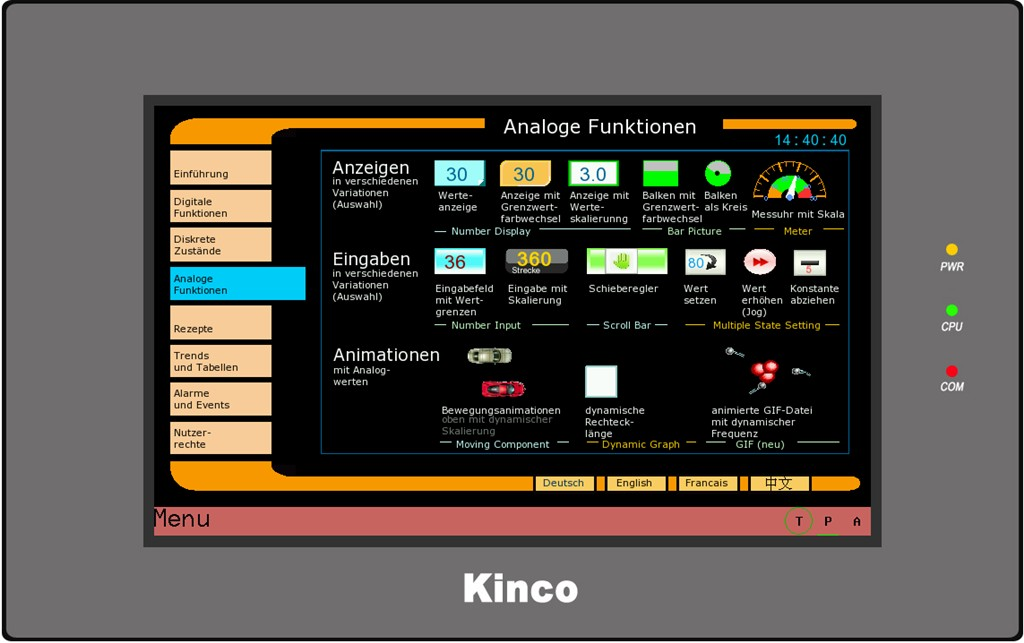 Kinco HMI MT4434TE Analogwerte