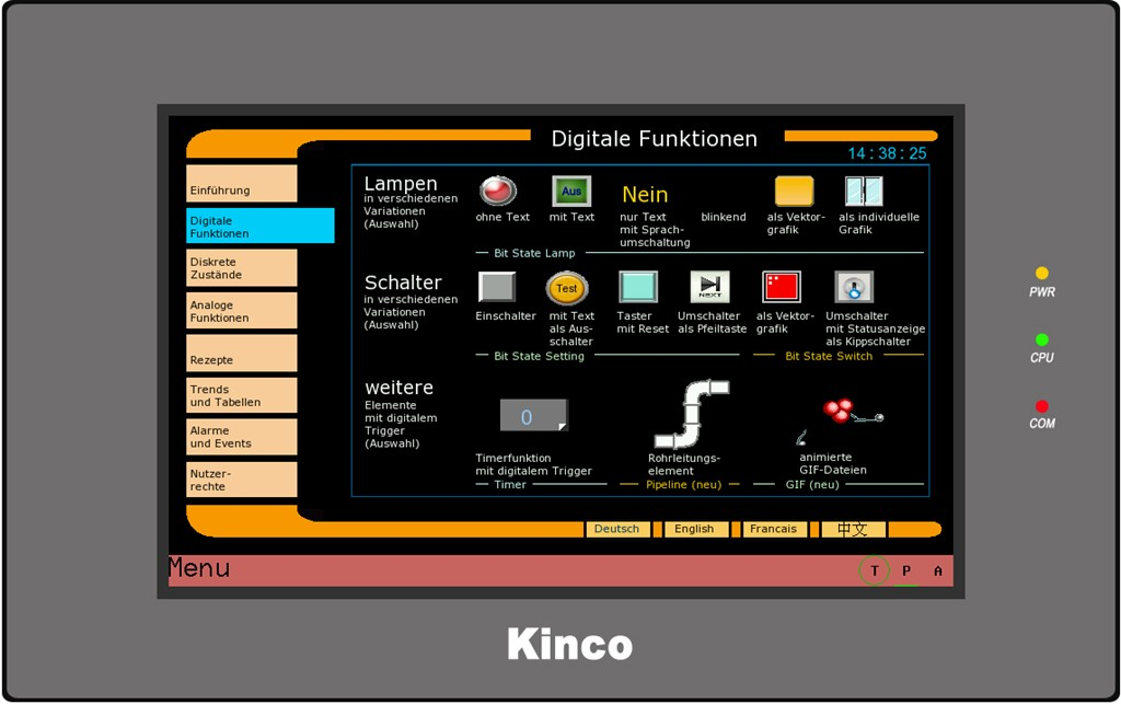 Kinco HMI GL070E Digitale Funktionen 0