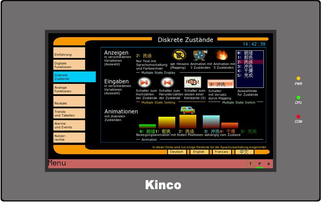 Kinco HMI MT4434TE diskrete Zustände Chinesisch