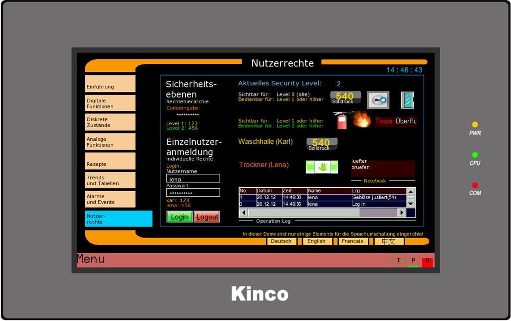 Kinco HMI GL100E Rechte