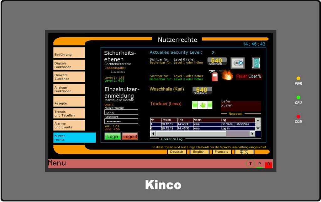 Kinco HMI MT4424 Rechte