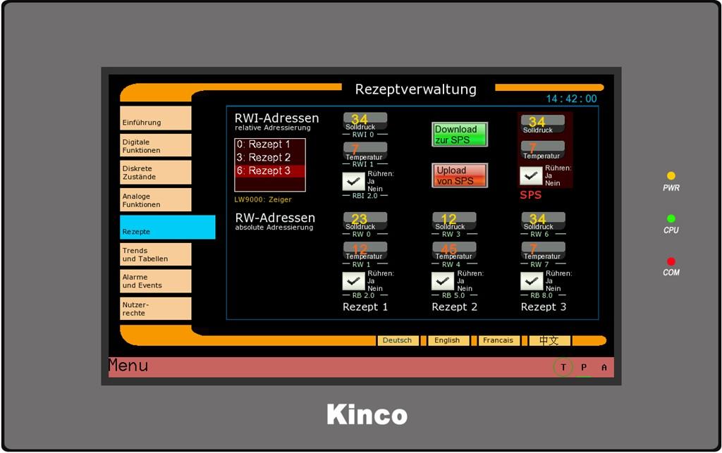 Kinco HMI MT4424 Rezepte