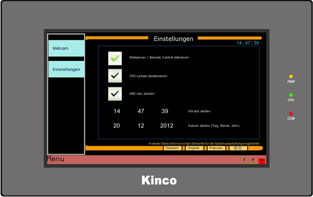 Kinco HMI GL100E Einstellung